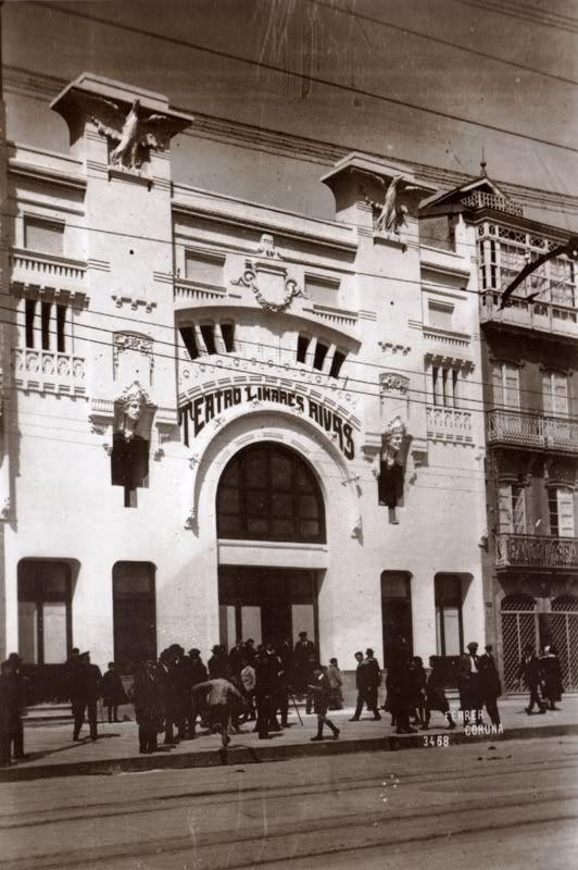 Teatro Linares Rivas, que luego se derribó y el solar fué edificio del Cine Avenida (Salvajadas urbanísticas)