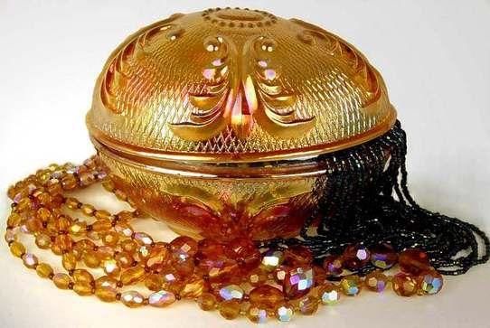 Whatisit | Glassware | Carnival glass | 1910  Zabkowice marigold carnival bonbonniere