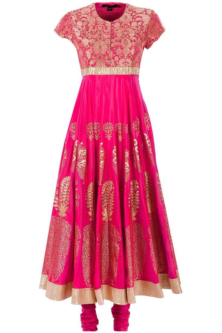 Fuschia mughal motif kurta set BIBA BY ROHITA BAL. Shop now at perniaspopupshop.com #perniaspopupshop #clothes #womensfashion #love #indian #rohitbal #happyshopping