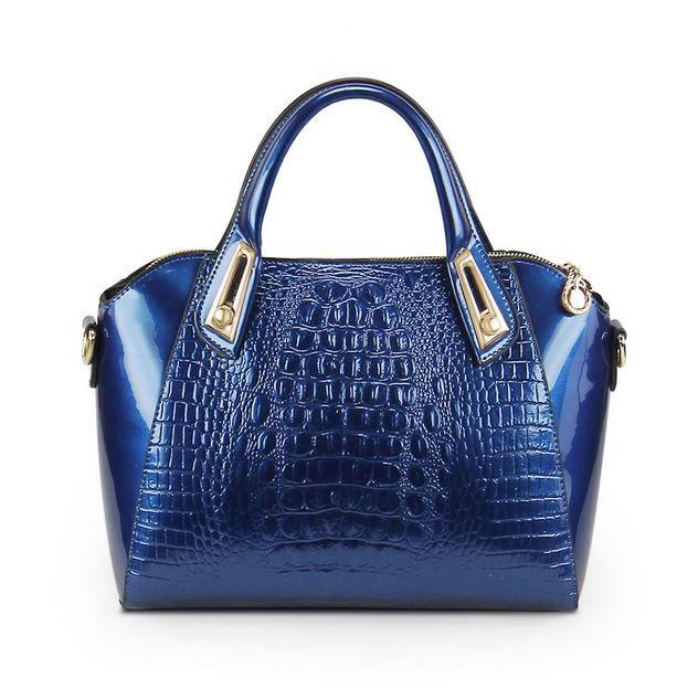 FREE SHIPPING Royal Blue Novelty Genuine Leather Handbag