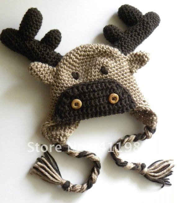 Knitting Pattern For Reindeer Hat : free shipping,20pcs 100% cotton CROCHET PATTERN Moose or Reindeer Crochet Hat...