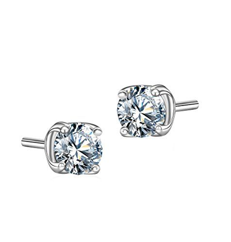 T400 Jewelers White gold plating stud earrings with Swaro…