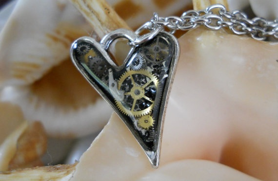 Resin Heart Steam Punk Pendant Necklace by JewelleryByJody on Etsy, $19.00
