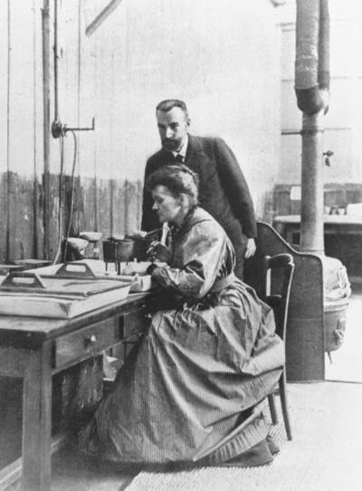 """The Curies, 1903 - the year they received the Nobel for their """"joint researches on the radiation phenomena discovered by Professor Henri Becquerel."""""""