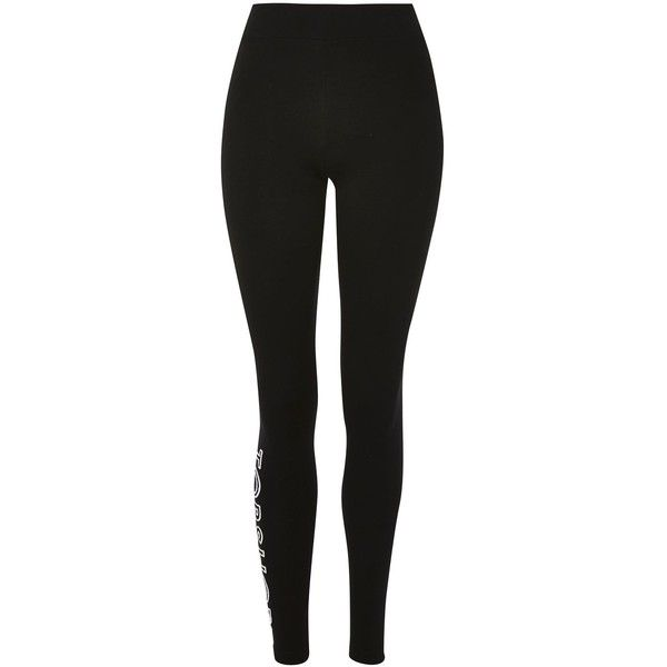 Topshop Topshop Logo Embroidered Leggings (£22) ❤ liked on Polyvore featuring pants, leggings, black, topshop leggings, legging pants, bodycon leggings, sport pants and rayon pants