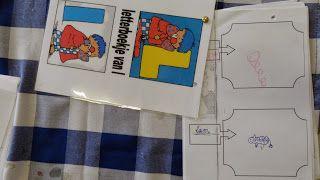 Taal: letterboekjes  De kinderen kiezen een boekje uit de stapel. Het is de bedoeling dat ze een woord zoeken. Bvb. een woord met een 'l' omdat ze het letterboekje van 'l' hebben gekozen.   Ze schrijven het woordje in het vakje (of de leerkracht). Daarna tekenen ze wat ze hebben bedacht.