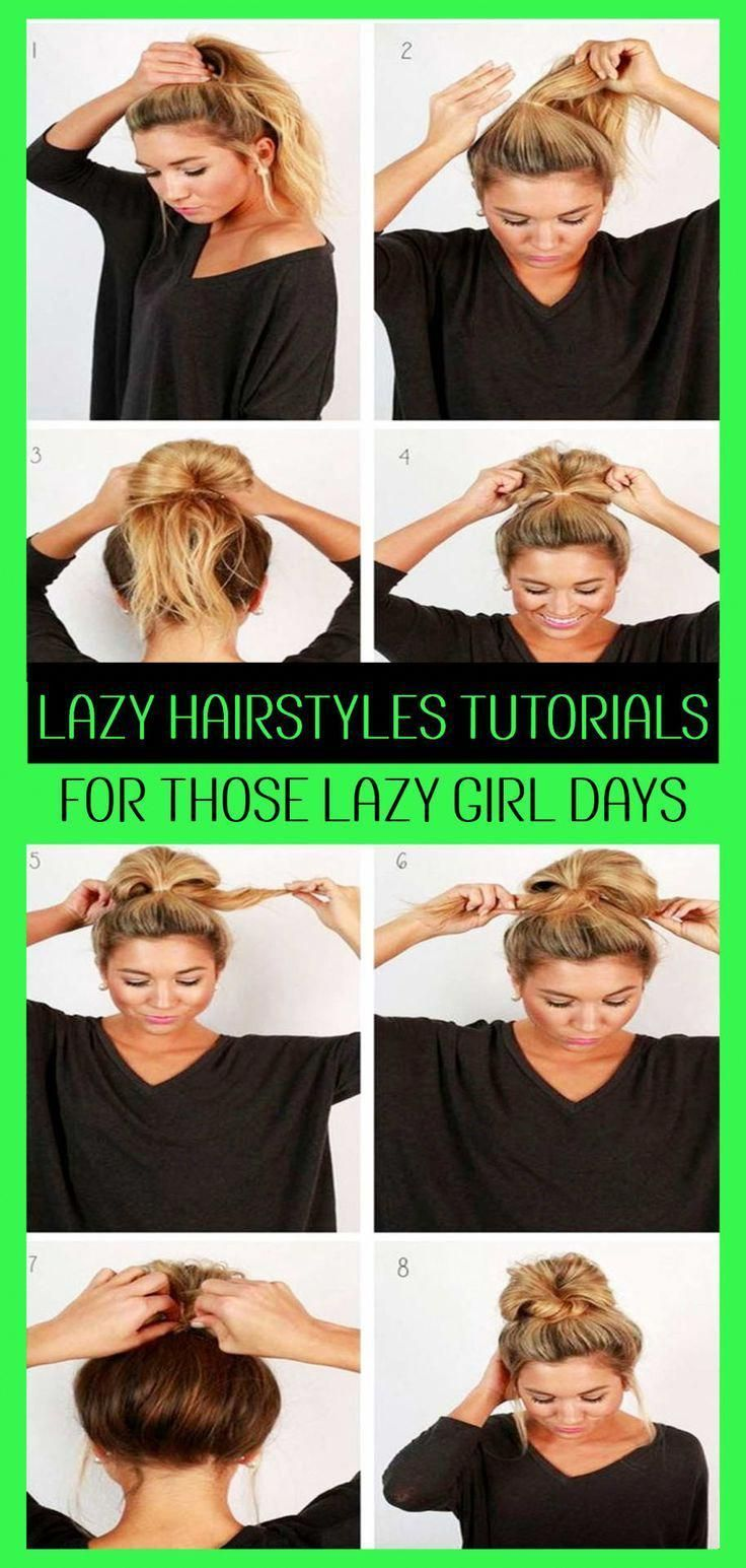 Lazy Hairstyles! Quick messy lazy hairstyles for school or for work – easy messy bun hairstyles tutorials for lazy girls #mediumhairstyleideas