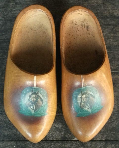アンティーク 木靴 馬の絵 木彫り 乗馬 蹄鉄 民芸品 置物_画像1
