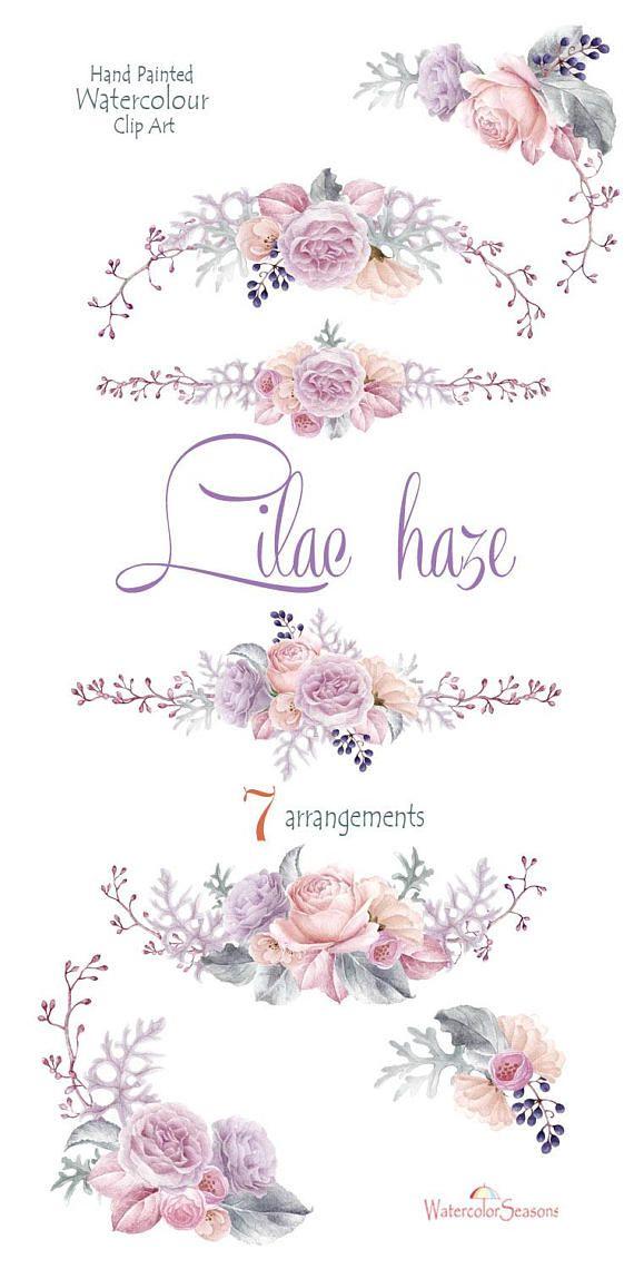 Watercolor Clipart Lilac Flowers Bouquets Arrangement Watercolour