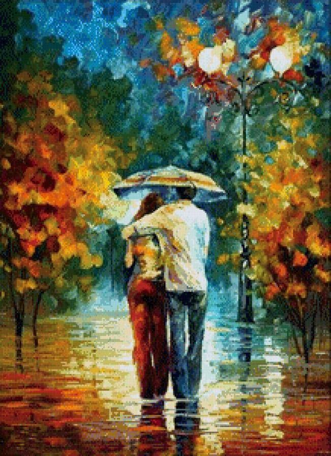 В осеннем парке под дождем, предпросмотр