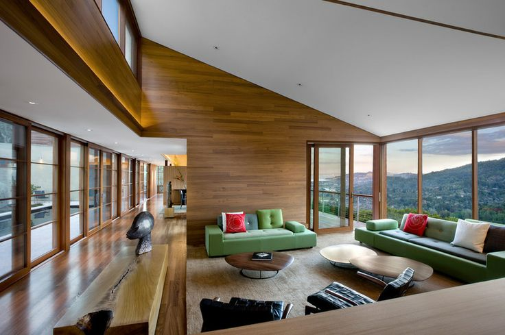 A California Hillside House Rooted in Nature - Walls of windows open to stunning mountain and bay views on one side and a serene pool courtyard on the other
