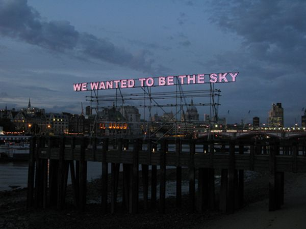 """""""These neon signs are not your everyday signs that invite you in to an open shop or direct you to the nearest exit. Rather, visual artist Tim Etchells uses more complex text in the form of neon lettering to create a public deconstruction of language. """" (quoted from mymodernmet.com)"""