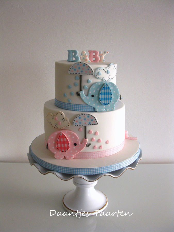 Sweet Elephant Baby Shower Cake ♥