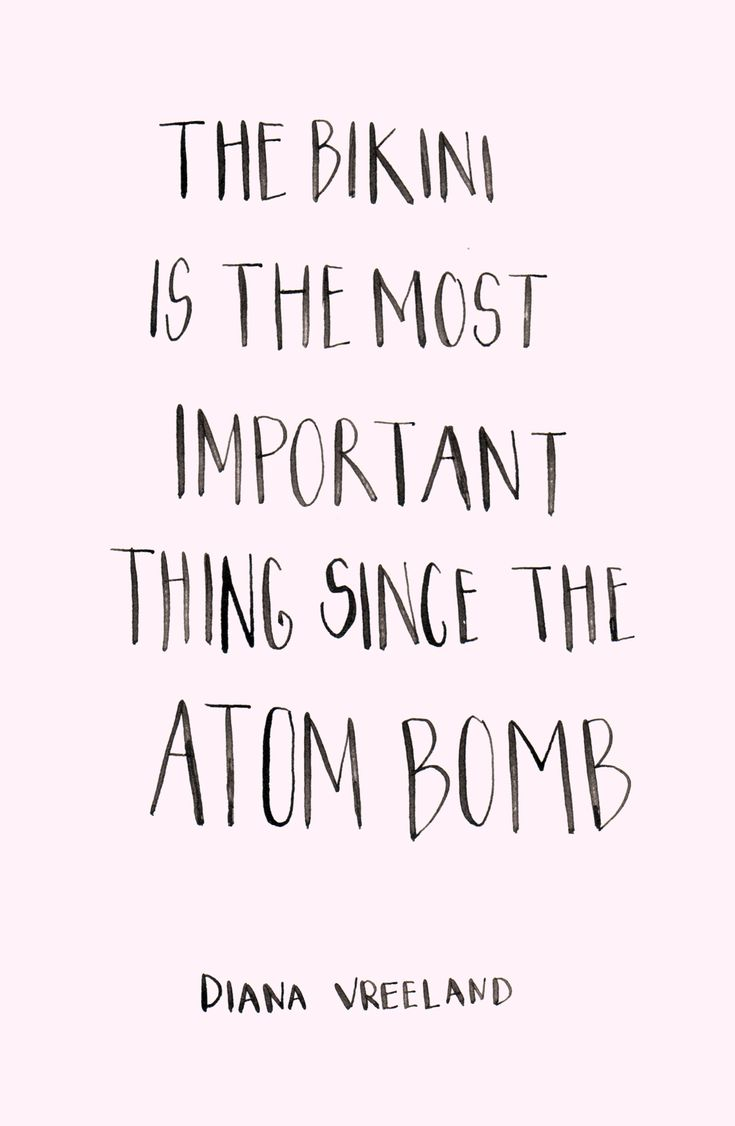 """""""The Bikini is the most important thing since the Atom Bomb"""" quote by Diana Vreeland, calligraphy type by Alicia Carvalho 