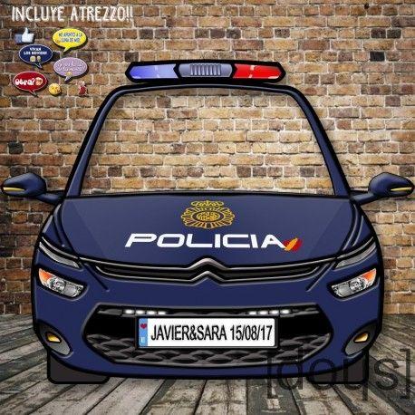 Photocall totalmente personalizado con la imagen de un coche de policía actual, de 180x140 cm.