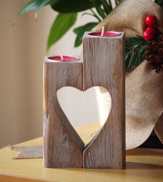 Portacandele in legno vintage cuore di WoodMetamorphosisUK su Etsy
