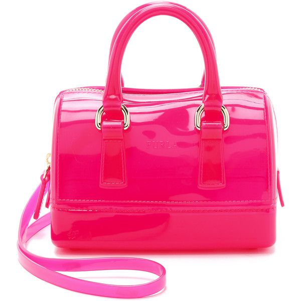 Furla Candy Sweetie Mini Satchel ($175) ❤ liked on Polyvore featuring bags, handbags, hot pink, mini purse, hot pink purse, mini satchel, top handle satchel handbags and pink satchel handbags