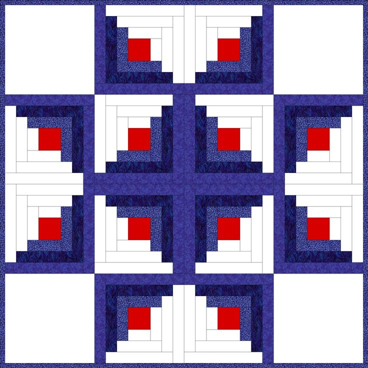 Here's some Log Cabin inspiration for you. Each of these patterns is made entirely from Log Cabin blocks, except the Log Cabin Star, which includes four plain squares.