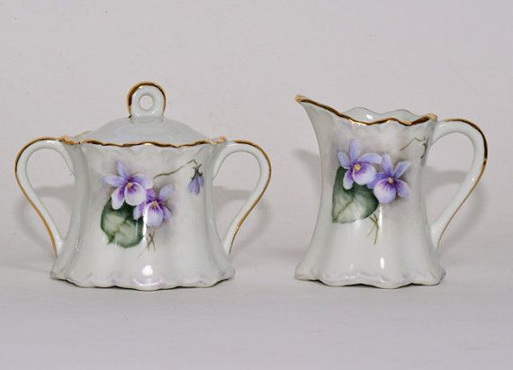 Violet Cream and Sugar Set Vintage by FleurStreetVintage on Etsy, $22.00
