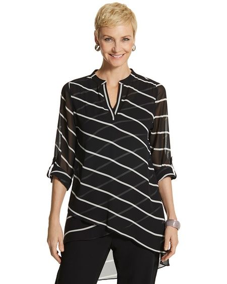 Tulia Graphic Striped Top, Chico's. Like the thin fabrics, with diagonals going both direcitions.