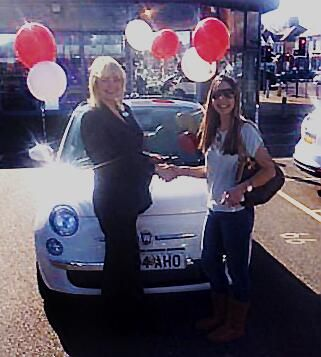 The sunny Samantha Fellows collected her first new car from Essex Fiat at Southend.