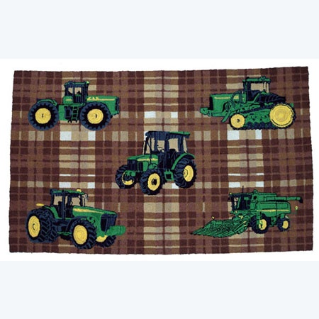 john deere traditional plaid pattern area rug tractor up