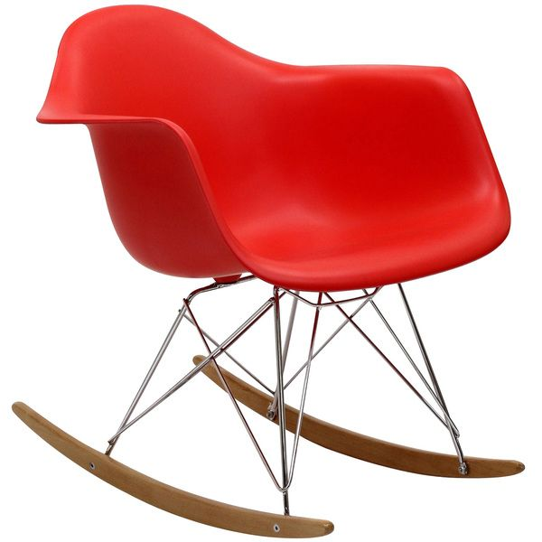 Red Molded Plastic Armchair Rocker in Red | Overstock.com Shopping - The Best Deals on Living Room Chairs