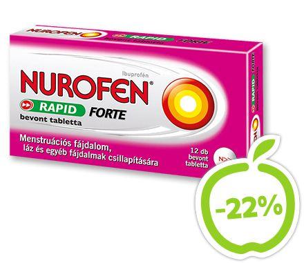 A Nurofen RAPID FORTE gyors segítség menstruációs fájdalom, láz és egyéb fájdalmak csillapítására. 2x gyorsabban csillapítja  a fájdalmat, mint az ibuprofént szabad savként tartalmazó, bevont tabletta gyógyszerformájú készítmények. Hatóanyag: ibuprofén. Vény nélkül kapható gyógyszer: A kockázatokról és a mellékhatásokról olvassa el a betegtájékoztatót, vagy kérdezze meg kezelőorvosát, gyógyszerészét! EP kártyára kapható. Eredeti ár: 1159 Ft, Akciós ár: 899 Ft