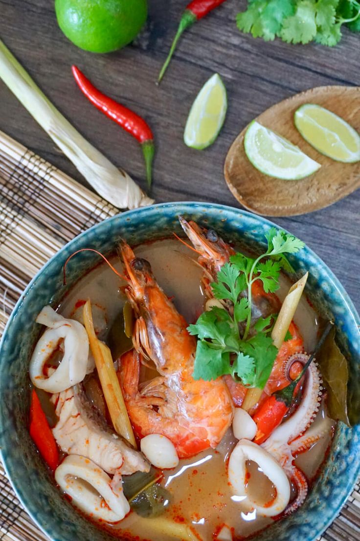 [RECIPE VIDEO!]  How to Make Tom Yum Talay (Tom Yum Seafood) Tom Yum is an extremely popular Thai soup characterised by its distinctive sweet, spicy and hot flavour due to addition of fragrant spices and herbs indigenous to Southeast Asia. You can either cook it with seafood (Tom Yum Talay), prawns (Tom Yum Khoong), or chicken (Tum Yum Gai), and its a great dish to serve as an appetiser!