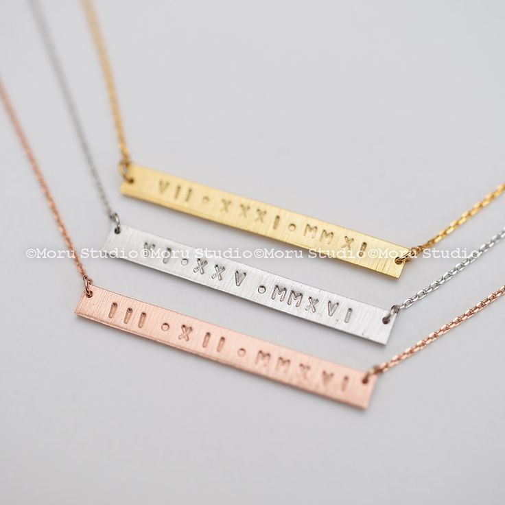 Personalized Roman Numeral Date Necklace/ Long Skinny Name Bar Necklace, Hand Stamped Initial Necklace, Gold Bar Necklace,Gift Idea NBR003-4 by MoruStudio on Etsy