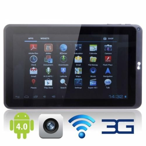 10.1 Tablet PC This tablet contains a Allwinner A10 Cortex A8 CPU, 10.1 screen, 1GB DDR3 RAM, 8GB hard drive, Micro SD, 5-point touch screen, 800x480 resolution, 2.0 mega pixel rear camera, smart G-sensor, external 3G and Wi-Fi.