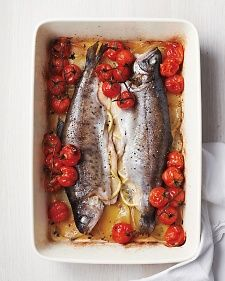 Whole Baked Trout with Cherry Tomatoes and Potatoes | Martha Stewart Living {May 2014}