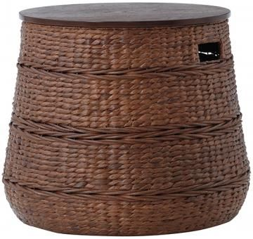 LIVING ROOM- Blanket Holder Kerala Storage End Table - Rattan Side Table | HomeDecorators.com