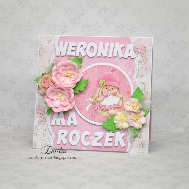 Emilia tworzy: Na roczek/Kartka na roczek dla dziewczynki/First birthday card