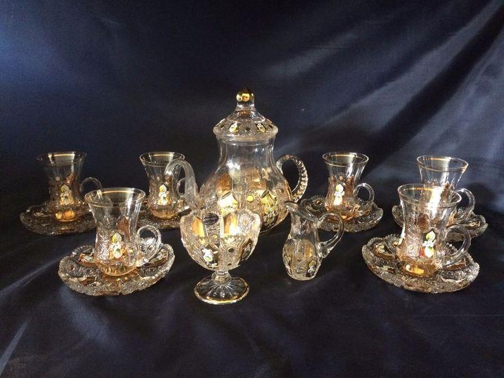 LUXURY VINTAGE BOHEMIA CRYSTAL GLASS HAND CUT- Big Coffee,tea set decorated gold