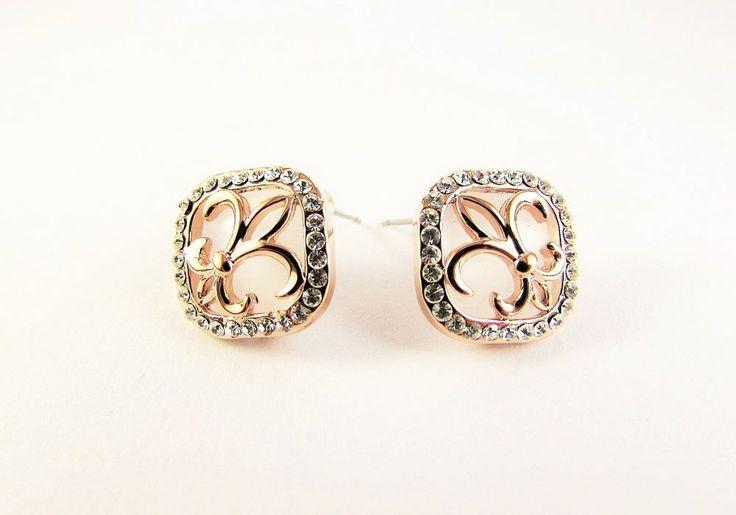 Rose Gold Plated 18K GP Crystal Stud Earrings Women Jewellery
