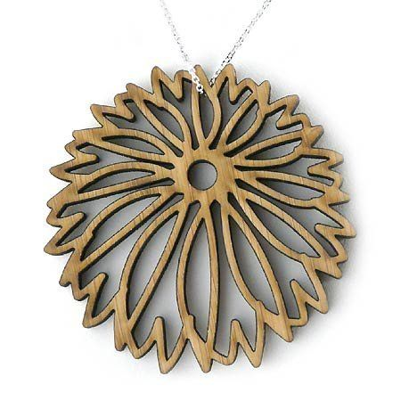 """Large Mum Pendant Necklace, Contemporary Bamboo Wood with Sterling Silver Chain Daphne Olive. $44.99. Original mum design is crafted of bamboo, a durable renewable wood with a warm tone. Includes slim, removable 18"""" sterling silver chain. Pendant measures 2"""" in diameter. Bold style with sustainable sensibility!. Crafted in the USA"""