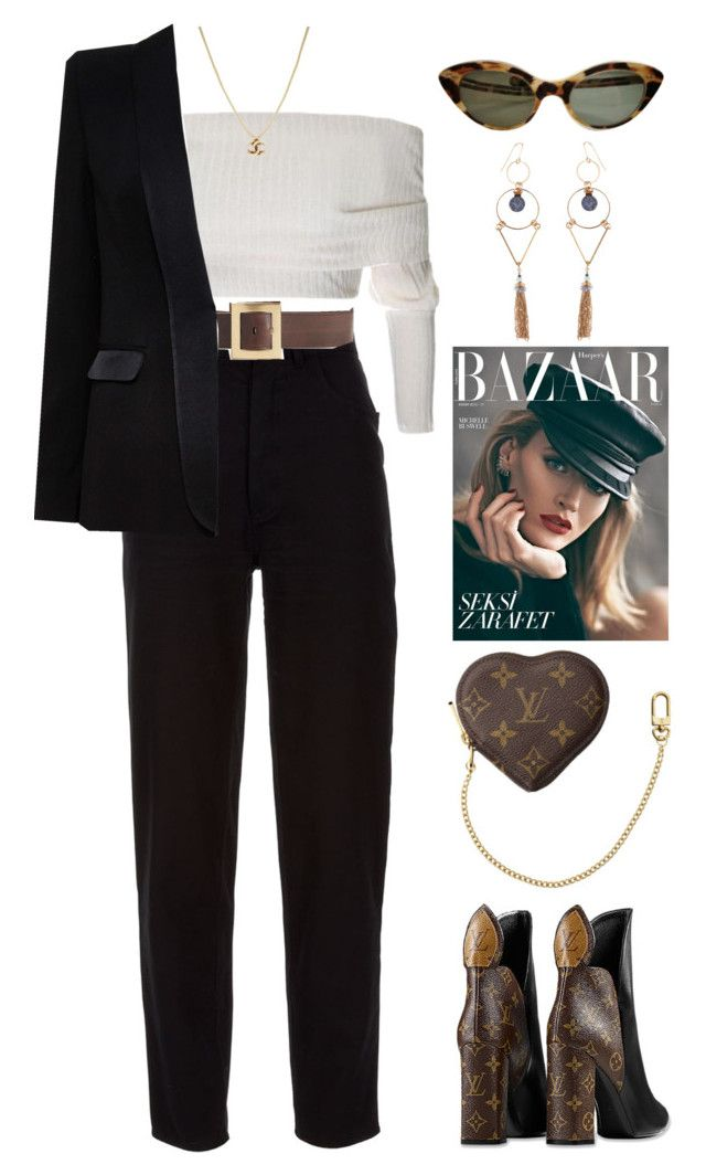 """""""wrong way"""" by lalagenue ❤ liked on Polyvore featuring Louis Vuitton, Accessorize, Chanel, Roberto Cavalli and Alice + Olivia"""