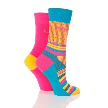 2 pack of socks to brighten any outfit. Shoe size 4-8 (37-42).