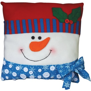 @Overstock - Create a beautifully personalized pillow with this kit. It includes one pre-sewn pillow; die-cut felt and fabric pieces; buttons; trims; one needle; cotton floss; and instructions. Finished size: 15x15 inches. Design: Snowman.http://www.overstock.com/Crafts-Sewing/Snowman-Pillow-Felt-Applique-Kit-15-X15/7578832/product.html?CID=214117 $16.99