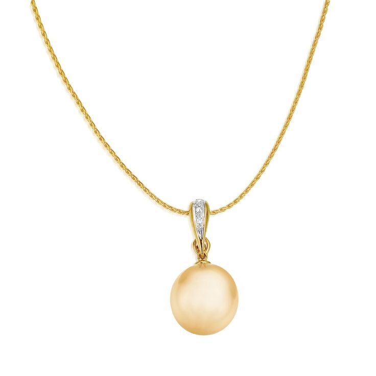 Golden South Sea Pearl Diamond Set 9ct Yellow Gold Pendant on Wheat Chain