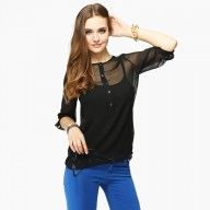Black Sheer Blouse Top