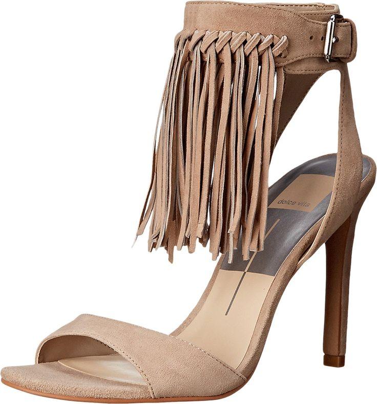 Dolce Vita Women's Hollie Dress Pump, Natural, 6 M US. Fringe heel.
