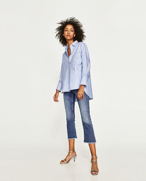 ZARA - WOMAN - OXFORD SHIRT WITH FAUX PEARL DETAILS