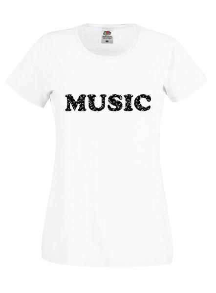 Music Feliratos Női Fehér Póló-Választható Felirat Színnel.Kerek nyakú, rövid ujjú fehér női póló. A póló Fruit of the Loom márka 100% pamut.Elején felirattal.