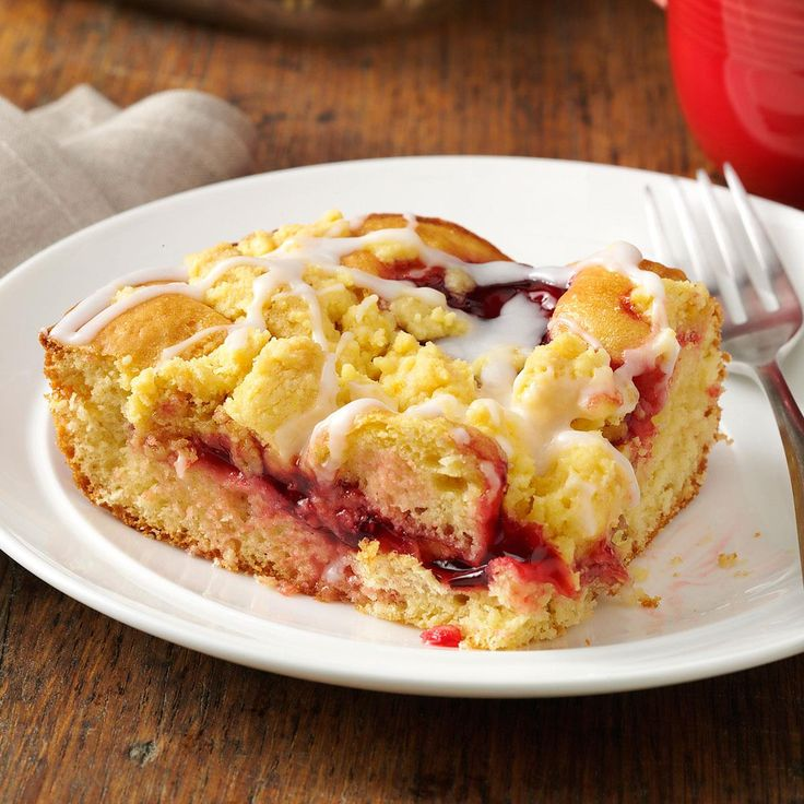 Glazed Cherry Coffee Cake Recipe -With its pretty layer of cherries and crunchy streusel topping, this coffee cake is great for breakfast. Or you can even serve it for dessert. —Gail Buss, Beverly Hills, Florida