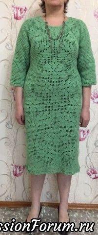 Люблю вязать филейку. Платье еще не отпаривала, сразу показала. Вязала по кругу, соединение на спине. Петли считала и подбирала к размеру по своим пледам.