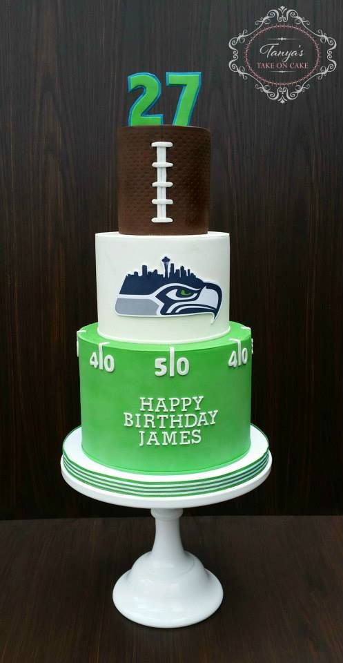 Seahawks Fondant Cake Fan 12th Man Football Birthday Seattle Skyline Yardline Green Blue