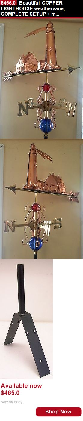 Weathervanes and Lightning Rods: Beautiful Copper Lighthouse Weathervane, Complete Setup + Mount BUY IT NOW ONLY: $465.0