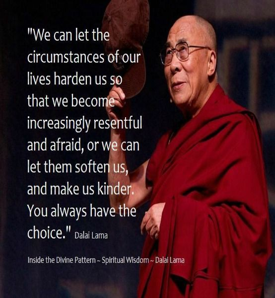 We can let the circumstances of our lives harden us so that we become increasingly resentful & afraid, or we can let them soften us, & make us kinder. You Always have the Choice ...... Dalai Lama More